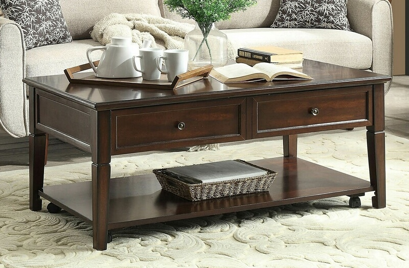 ACM80254 Malachi walnut finish wood lift top coffee table with storage underneath the top and lower shelf