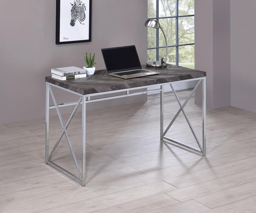 802611 Agatha felsberg rustic grey finish wood with nickel finish metal frame writing desk