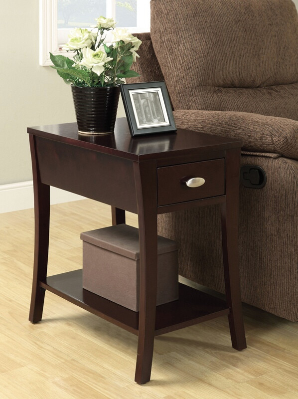 ACM80295 Corin espresso finish wood chair side end table with drawer and curved legs