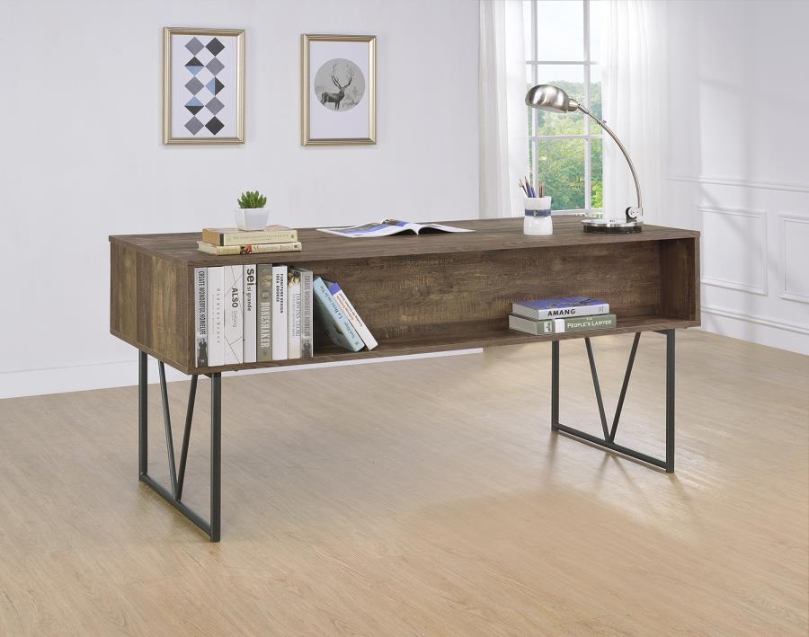 802999 Union rustic pernell analiese rustic oak driftwood finish wood and black metal frame writing desk