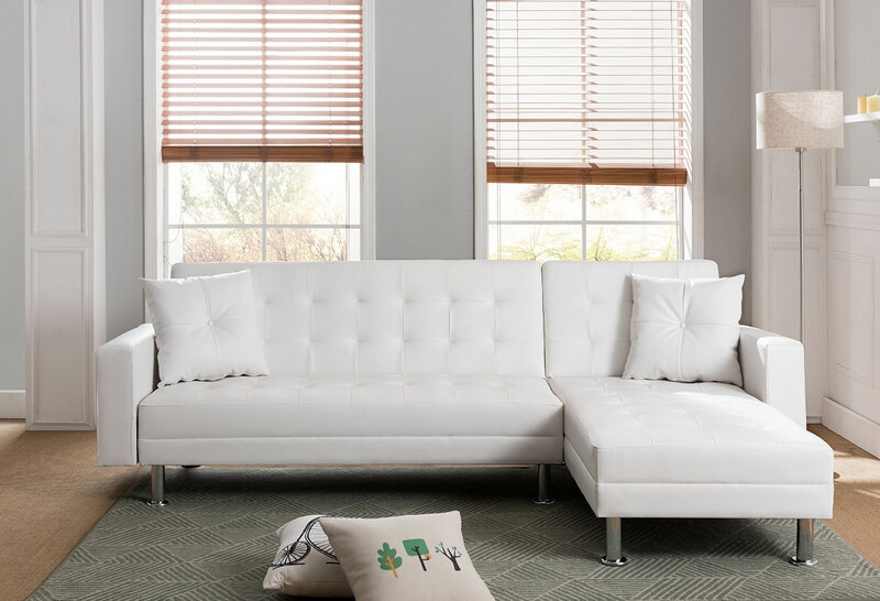 Mgs 8036 Wh 2 Pc Taylorann Modern Style White Faux Leather Sectional