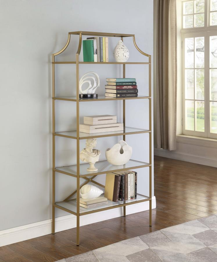 804393 Mercer 41 ayotte 5 tier matte gold finish metal frame and glass shelves book case