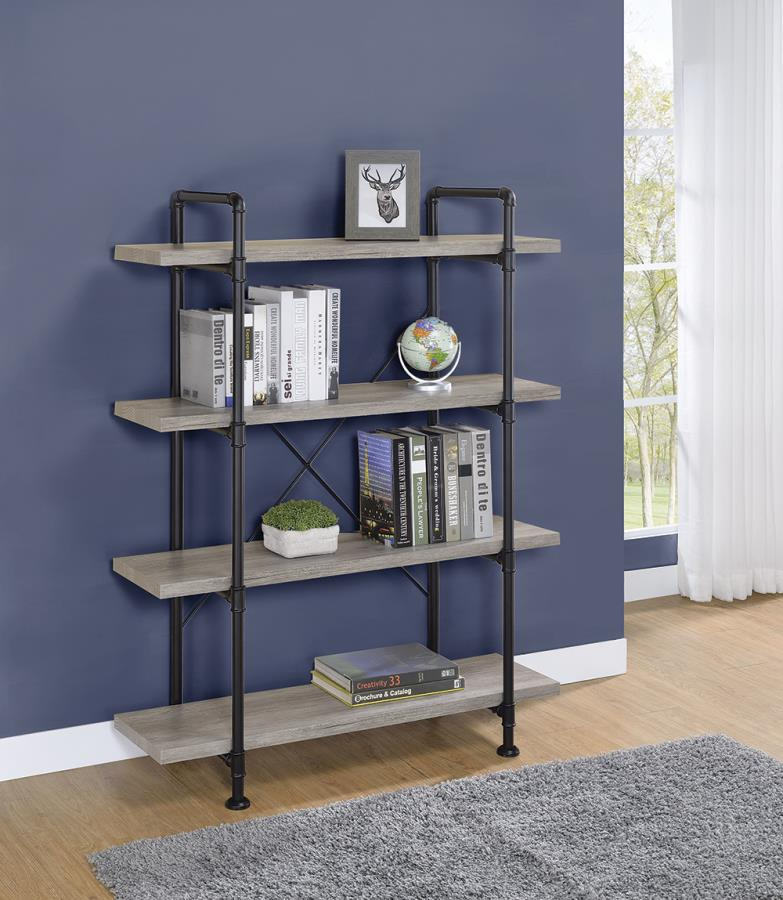 804406 17 Stories thea blondelle tolar grey driftwood finish wood with black metal frame 4 tier shelf