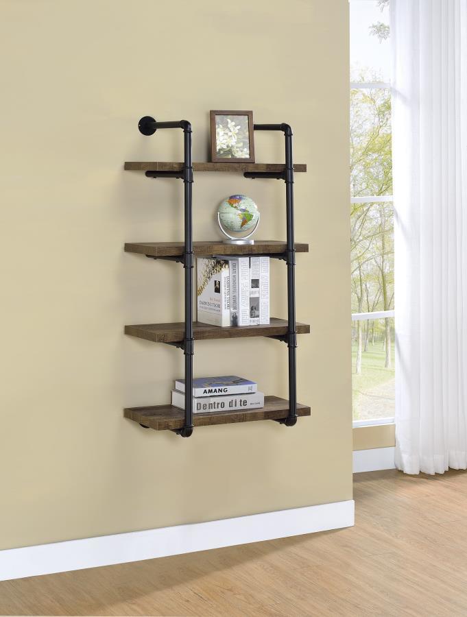 804426 Carbon loft agwan rustic oak finish wood black metal frame 4 tier wall mount shelf