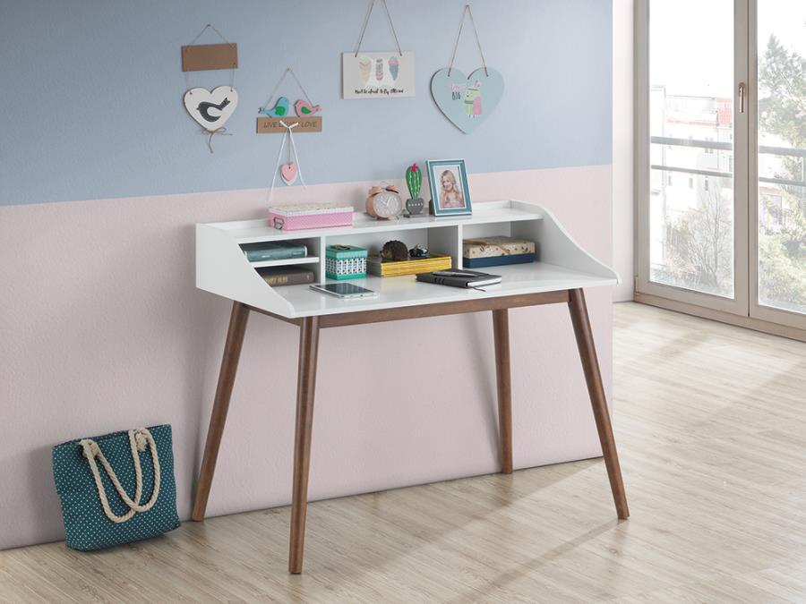 804495 George oliver burkhalter percy mid century white / walnut finish wood writing desk