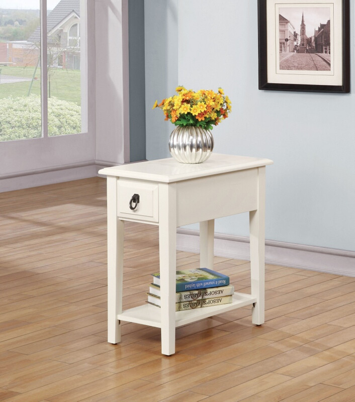 ACM80513 Kloris collection white finish wood chair side end table with drawer