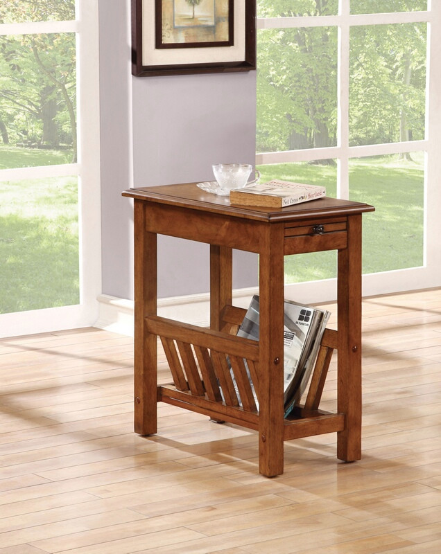 ACM80517 Kloris collection tobacco finish wood chair side end table with magazine rack