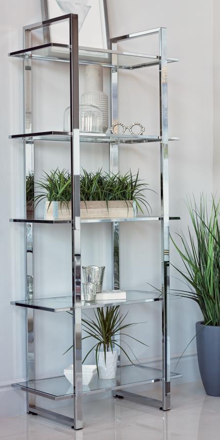 805538 Wade logan ebern designs polished chrome metal finish shelf unit with glass shelves