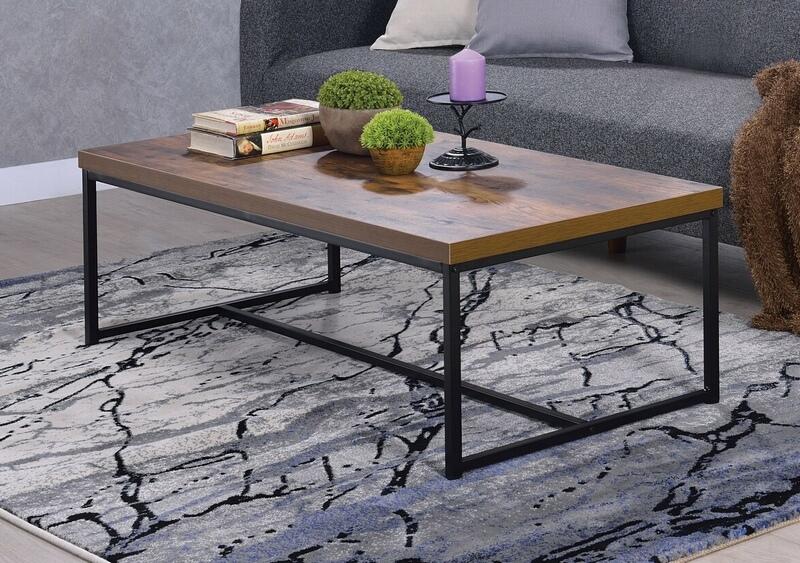 Acme 80615 Foundry select cerie bob weathered oak finish wood top black metal frame coffee table