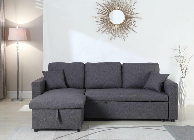 MGS 8067-GY 2 pc Everly II gray linen like fabric sectional sofa set pull out sleep area
