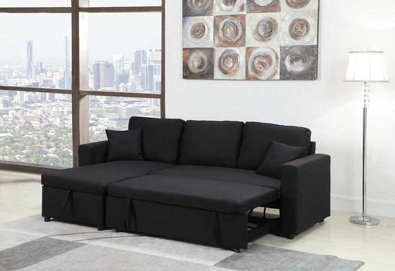 MGS 8067-BK 2 pc Everly II black linen like fabric sectional sofa set pull out sleep area