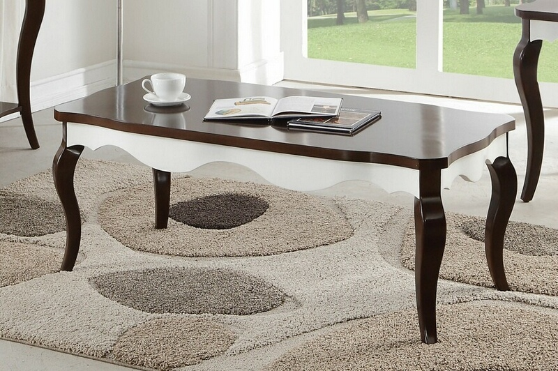 Acme 80680 Darby home co daxten mathias white and walnut finish wood coffee table