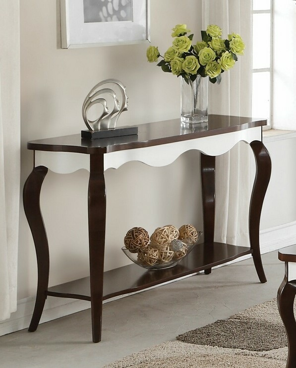 Acme 80684 Darby home co daxten mathias white and walnut finish wood sofa entry console table