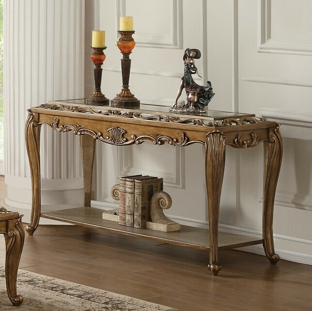 Acme 80693 Orianne Antique Gold Finish Wood Mirrored Sofa Entry Console Table