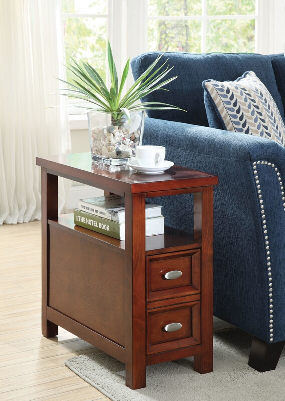 ACM80921 Perrie collection cherry finish wood chair side end table with pull out drawer