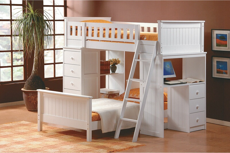 Asia Direct 810-WH Catherines white finish wood twin / twin loft bunk bed set desk and drawers