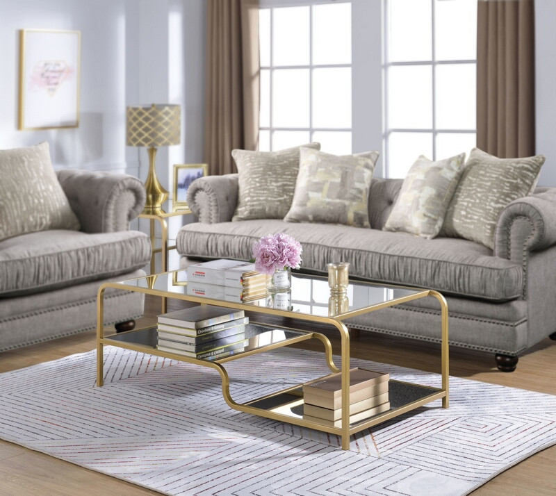Acme 81090 Astrid gold finish metal frame glass coffee table