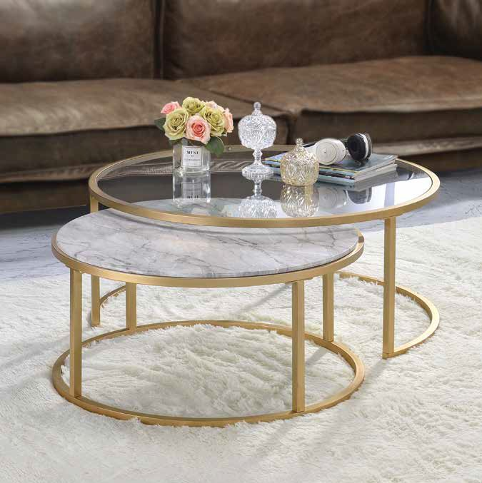 Acme 81110 2 pc Orren ellis murtaz shanish faux marble and gold finish frame round nesting coffee table set