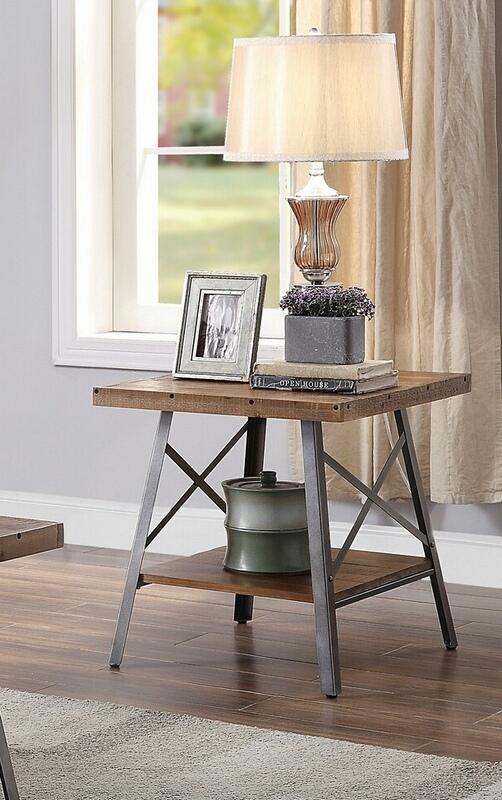 Acme 81177 Set of 2 Gracie oaks alladin ikram weathered oak finish wood sandy black chair side end table