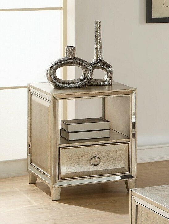 Acme 81202 Rosdorf park lister voeville antique gold finish wood chair side end table