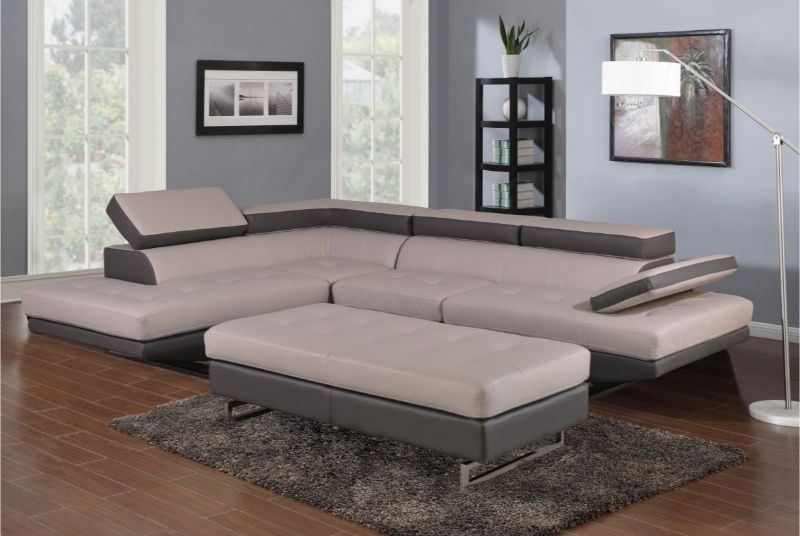 GU-8136GY-2PCA 2 pc Latitude run oleander grey/white leather gel sectional sofa adjustable headrests LAF chaise