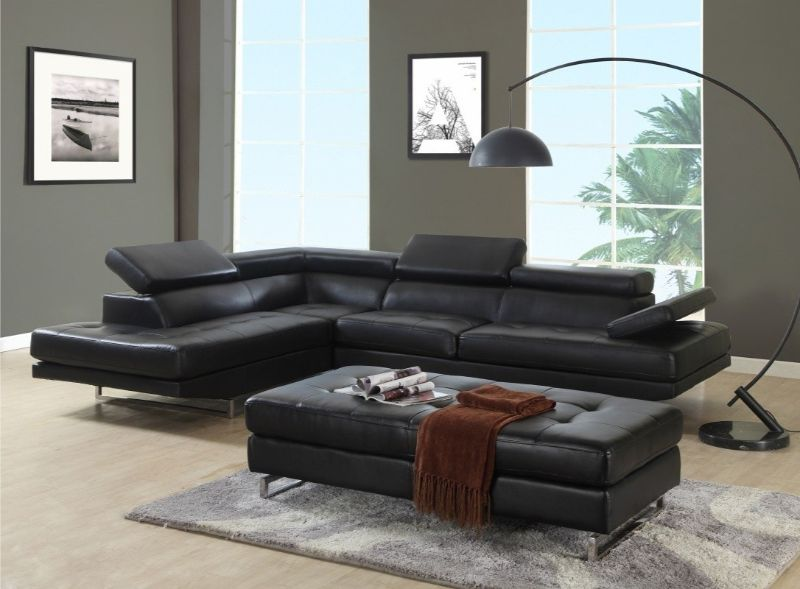 8136BK-2PC-A 2 pc Latitude ran oleander black leather gel sectional sofa adjustable headrests with chaise