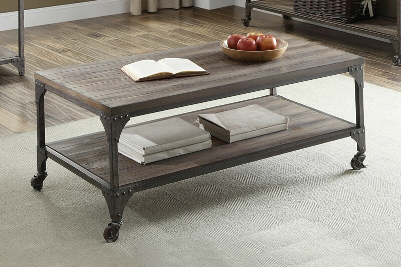 Acme 81445 17 stories aahil gorden weathered oak finish wood antique nickel metal frame coffee table