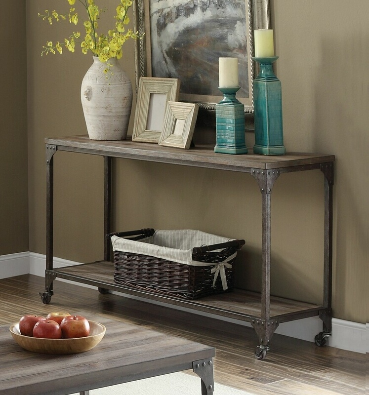 Acme 81449 17 stories aahil gorden weathered oak finish wood antique nickel metal frame sofa console entry table