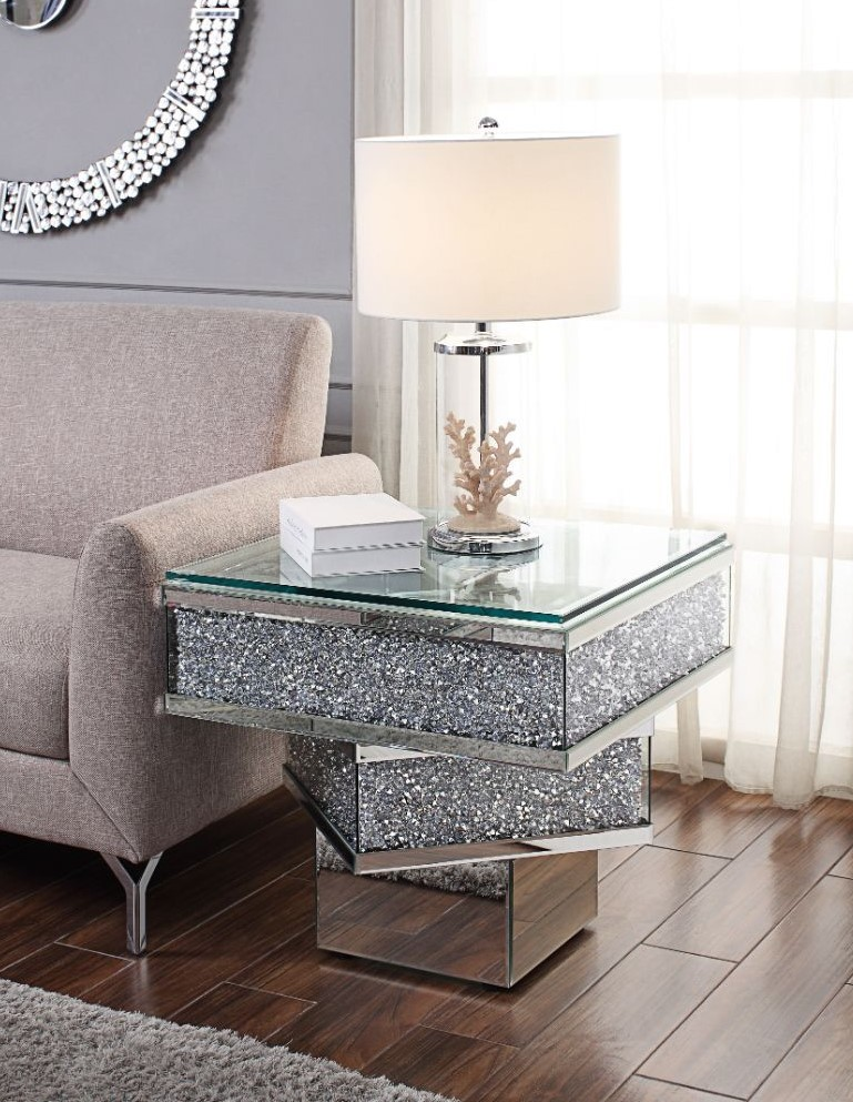 """Acme 81467 Rosdorf park lippa Noralie mirrored faux diamond square glass top end table.  End table measures 25"""" x 25"""" x 24"""" H.  Some assembly required."""