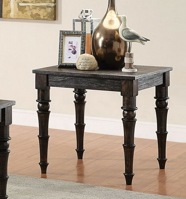 ACM81616 Kami collection antique black finish wood end table with turned legs