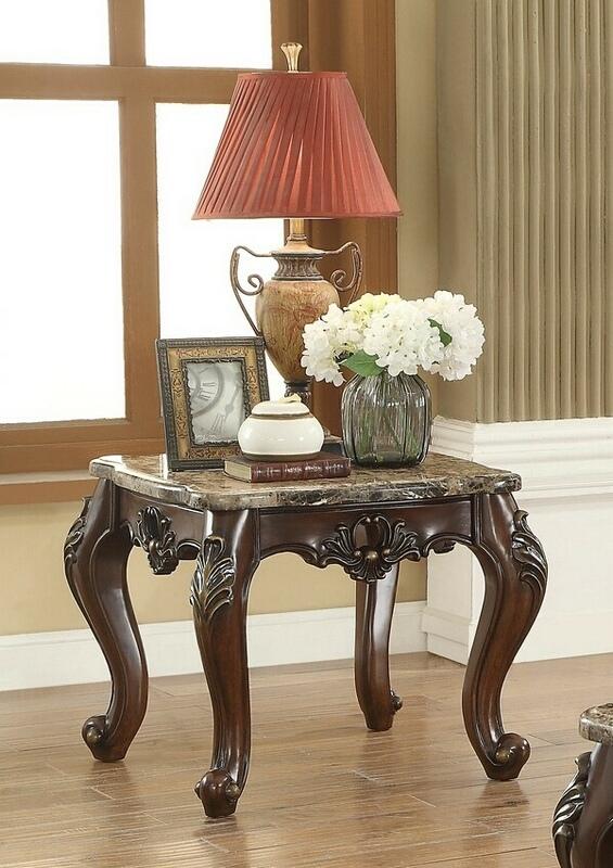 Acme 81687 Devayne dark walnut finish wood marble top chair side end table