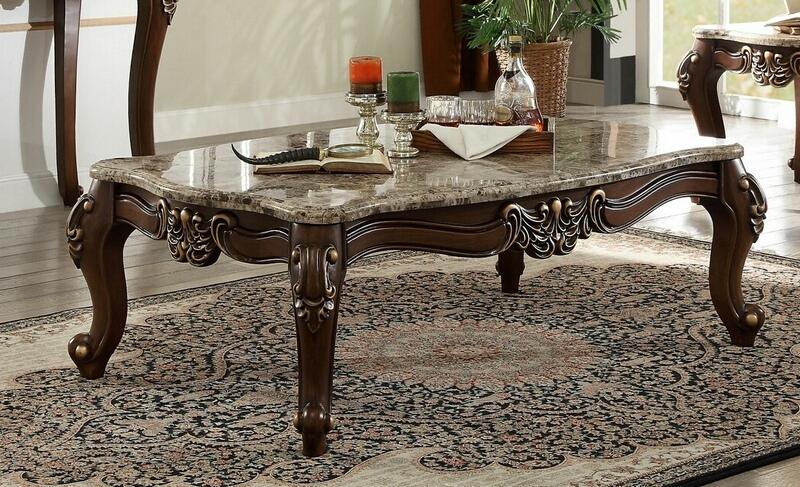 Acme 81695 Mehadi walnut finish wood marble top coffee table
