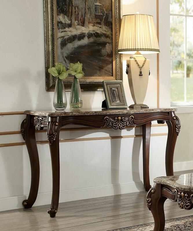 Acme 81698 Astoria grand tunstall mehadi walnut finish wood marble top sofa entry console table