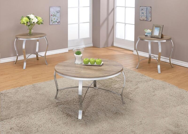 Acme 81705 3 pc Winston porter barkbridge malai weathered light oak chrome finish round coffee end table set