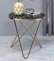 Acme 81832 Wrought studio bock valora black glass top champagne finish frame round end table