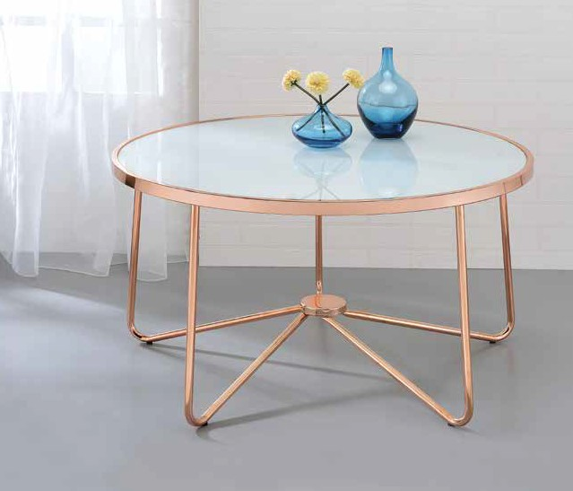 Acme 81835 Wrought studio bock alivia frosted glass top rose gold finish frame round coffee table