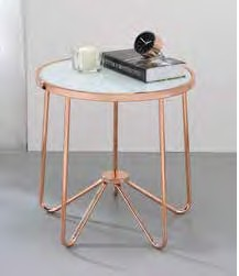 Acme 81837 Wrought studio bock alivia frosted glass top rose gold finish frame round end table