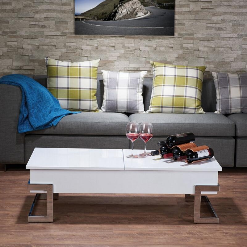 Acme 81850 Orren ellis peden calnan white high gloss finish wood lift top coffee table