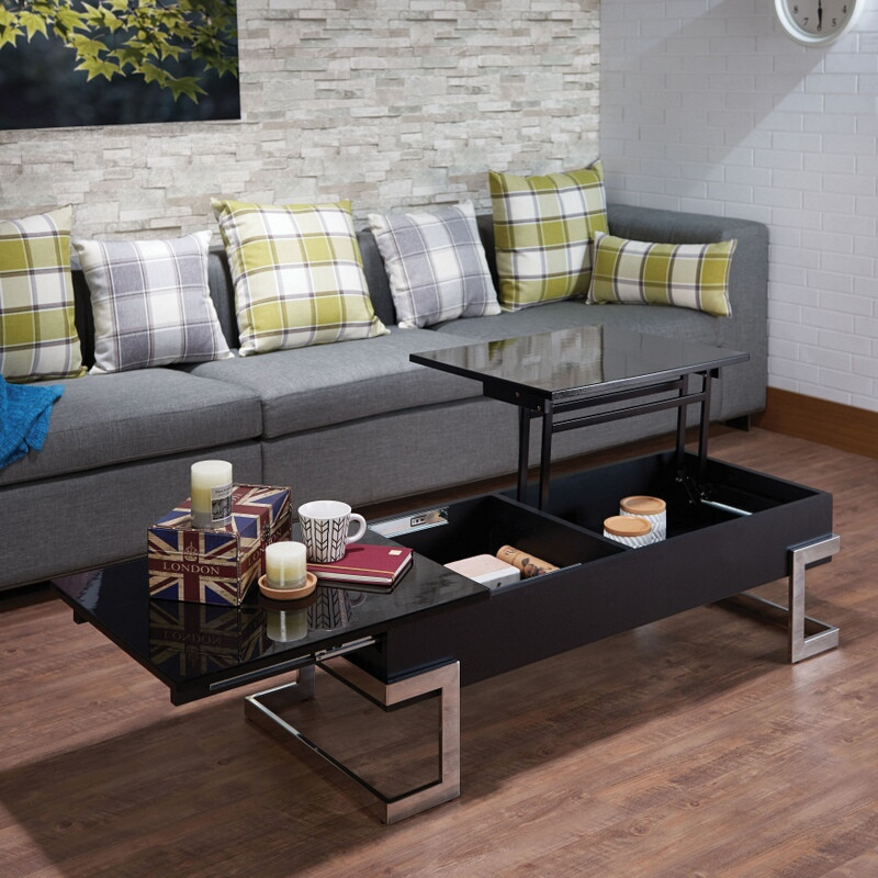 Acme 81855 Orren ellis peden calnan black high gloss finish wood lift top coffee table