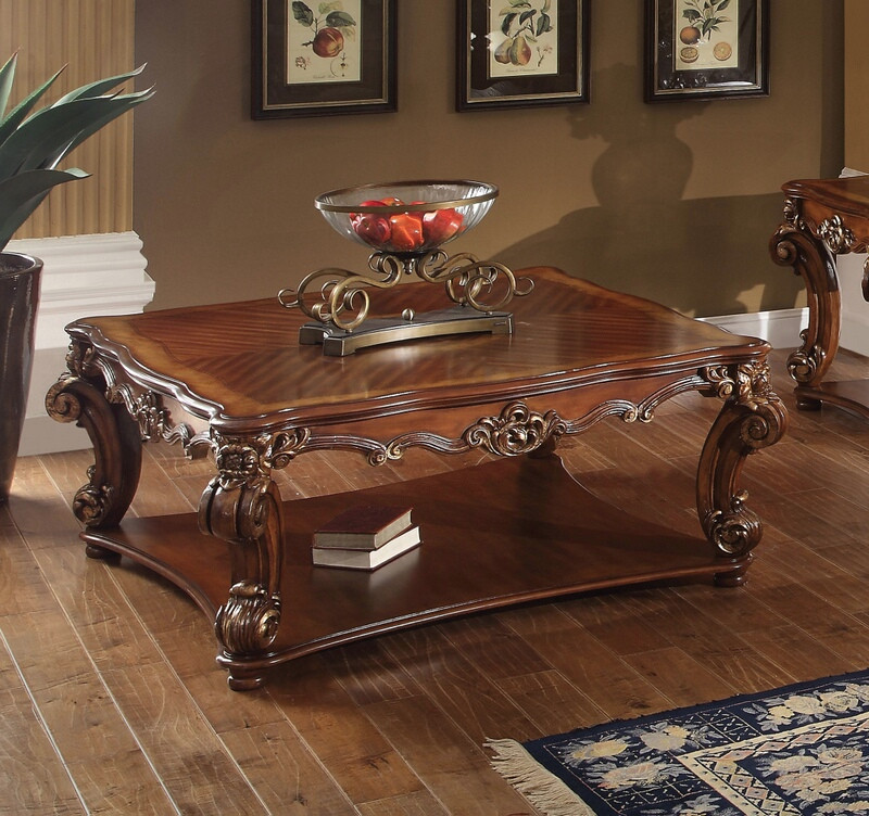 Acme 82002 Astoria grand esmeralda vendome cherry finish wood carved accents square coffee table