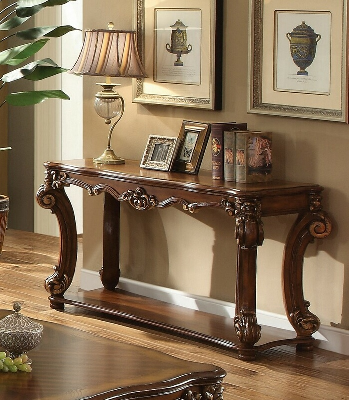 Awe Inspiring Acme 82004 Vendome Cherry Finish Wood Carved Accents Sofa Entry Console Table Ibusinesslaw Wood Chair Design Ideas Ibusinesslaworg