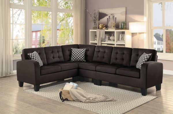 HE-8202CH-2pcSEC 2 pc sinclair collection chocolate fabric upholstered reversible sectional sofa set with tufted backs