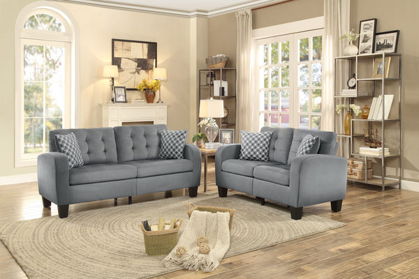 Home Elegance 8202GRY-SL 2 pc sinclair gray fabric sofa and love seat set with tufted backs