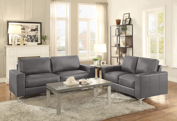 HE-8203GY-SL 2 pc iniko collection grey leather gel match upholstered sofa and love seat set with chrome modern legs