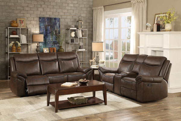 HE-8206BRW-2pc 2 pc Aram collection dark brown leather airehyde upholstered double reclining sofa and love seat set