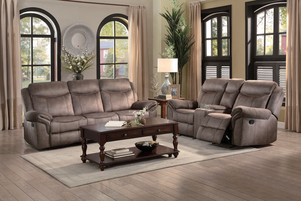 HE-8206NF-2pc 2 pc Aram collection brown textured fabric upholstered double reclining sofa and love seat set