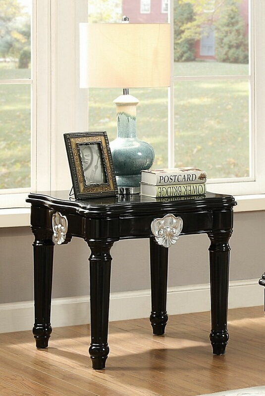 Acme 82112 Ernestine black finish wood chair side end table