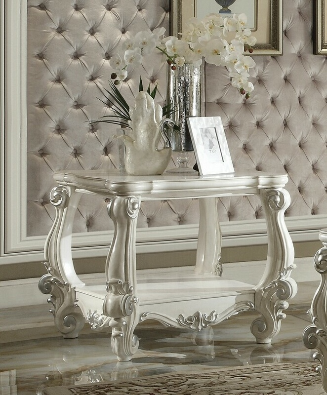 Acme 82124 Astoria grand pirro versailles ii bone white finish wood carved accents chair side end table