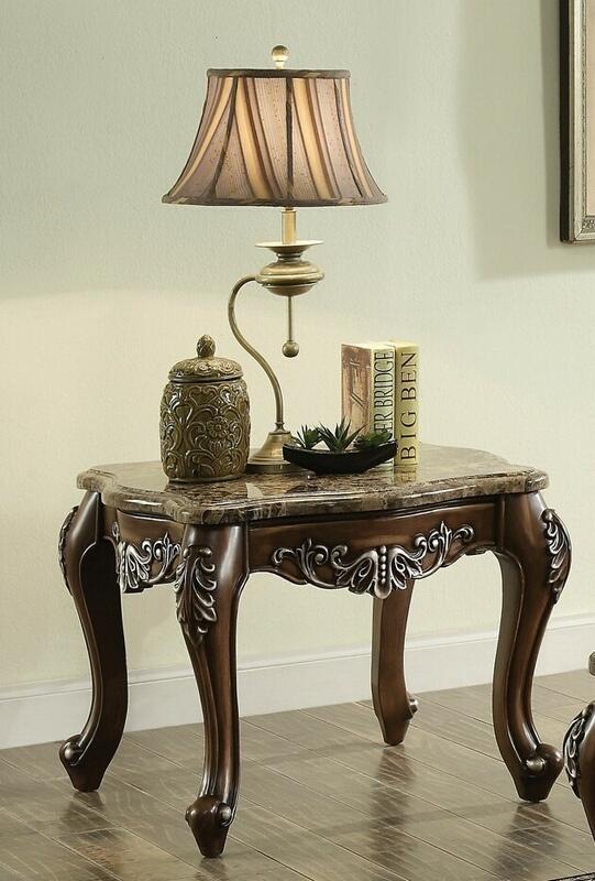 Acme 82147 Astoria grand mccloud latisha antique oak finish wood marble top chair side end table