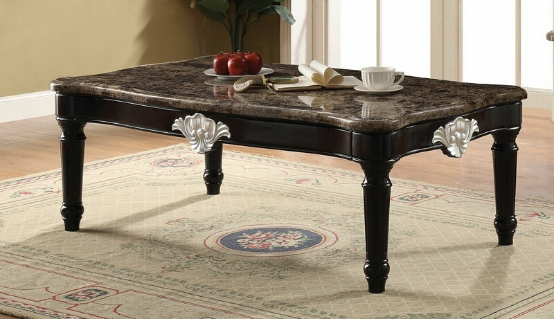 Acme 82150 Astoria grand mcclellan ernestine black finish wood marble top coffee table
